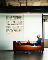 Ben Milne is the founder and CEO of Des Moines, Iowa-based financial start-up, Dwolla. He is pictured at the company's office in downtown Des Moines on August 1, 2013.