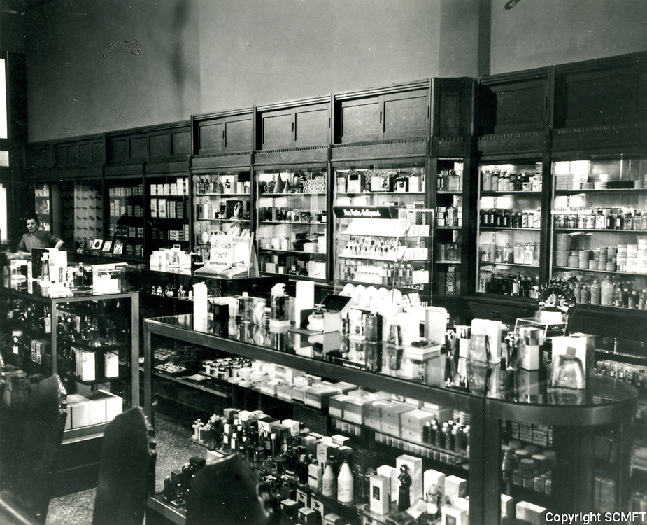1949 Cosmetic counter at Schwab's Drugstore