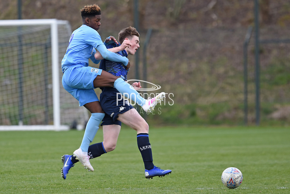 Leeds United defender Jamie Thornton challenges for the ball during the U18 Professional Development League match between Coventry City and Leeds United at Alan Higgins Centre, Coventry, United Kingdom on 13 April 2019.