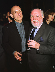 Actor BEN KINGSLEY and LORD ATTENBOROUGH, at a dinner in London on 2nd February 1999.MNU 49