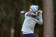 WILMINGTON, NC - MARCH 19: North Carolina's William Register tees off on the Marsh Course fourth hole. The first round of the 2017 Seahawk Intercollegiate Men's Golf Tournament was held on March 19, 2017, at the Country Club of Landover Nicklaus Course in Wilmington, NC.
