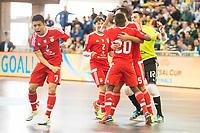 Benfica's players celebrating a goal during UEFA Futsal Cup 2015/2016 3º/4º place match. April 22,2016. (ALTERPHOTOS/Acero)