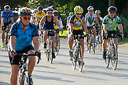 Fort Worth's mayor Betsy Price (center) participates during the first day of the 2014 Tour de Fort Worth, an annual event hosted by Mayor Price to promote cycling within the city while also giving her a chance to connect with her constituents on July 5, 2014 in Fort Worth, Texas. (Cooper Neill for The New York Times)