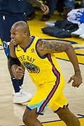 Golden State Warriors forward David West (3) reacts to a play against the Minnesota Timberwolves at Oracle Arena in Oakland, Calif., on January 25, 2018. (Stan Olszewski/Special to S.F. Examiner)