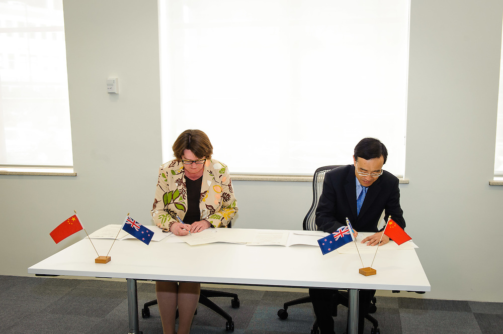 WELLINGTON, NEW ZEALAND - October 28: Intellectual Property Office of New Zealand with visiting delegation from China. The two countries signed an agreement around Intellectual Property. 15 Stout Street, Wellington, New Zealand. October 28, 2014 in Wellington, New Zealand.  Headline.  (Photo by Mark Tantrum/ mark tantrum.com)