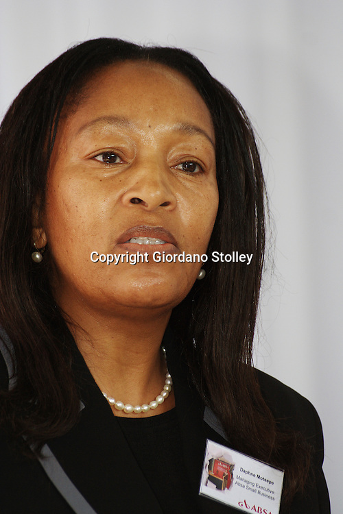 DURBAN - 20 July 2007 - Absa Bank's managing executive for small business Daphne Motsepe speaks at the opening of an Absa Bank business advisory centre in Durban's Warwick Triangle area..Motsepe is the sister of Patrice Motsepe, SA's first black billionaire..Picture: Giordano Stolley/Allied Picture Press