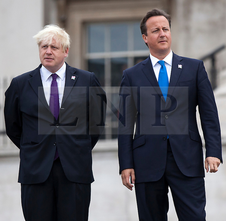 **FILE PICTURE- David Cameron and Boris Johnson will will campaign against each other ahead of an EU Referendum on June 23rd, 2016**© Licensed to London News Pictures. 24/08/2012. LONDON, UK. Jeremy Hunt, the Secretary of State for Culture, Olympics, Media and Sport (L), Boris Johnson, the Mayor of London (C) and David Cameron, the British Prime Minister (R) are seen at the lighting of the Paralympic Cauldron in Trafalgar Square in London (24/08/12). Photo credit: Matt Cetti-Roberts/LNP