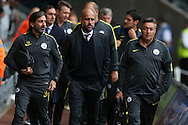 Pep Guardiola, the Manchester city manager © arrives at the stadium with his back room staff.EFL Cup. 3rd round match, Swansea city v Manchester city at the Liberty Stadium in Swansea, South Wales on Wednesday 21st September 2016.<br /> pic by  Andrew Orchard, Andrew Orchard sports photography.