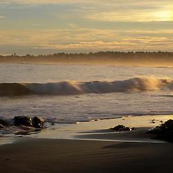 Wallis Sands State Park.  Atlantic Ocean. Low tide.  Sun-dog. Rye, NH.