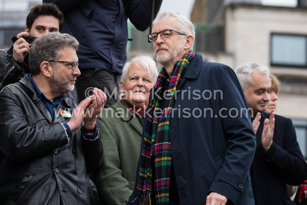 London, UK. 11 January, 2020. Jeremy Corbyn, Leader of the Opposition, arrives to address the No War on Iran demonstration in Trafalgar Square organised by Stop the War Coalition and the Campaign for Nuclear Disarmament to call for deescalation in the Middle East following the assassination by the United States of Iranian General Qassem Soleimani and the subsequent Iranian missile attack on US bases in Iraq.