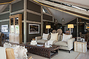 The lounge at Abu Camp, a luxury safari camp in the Okavango Delta, Botswana