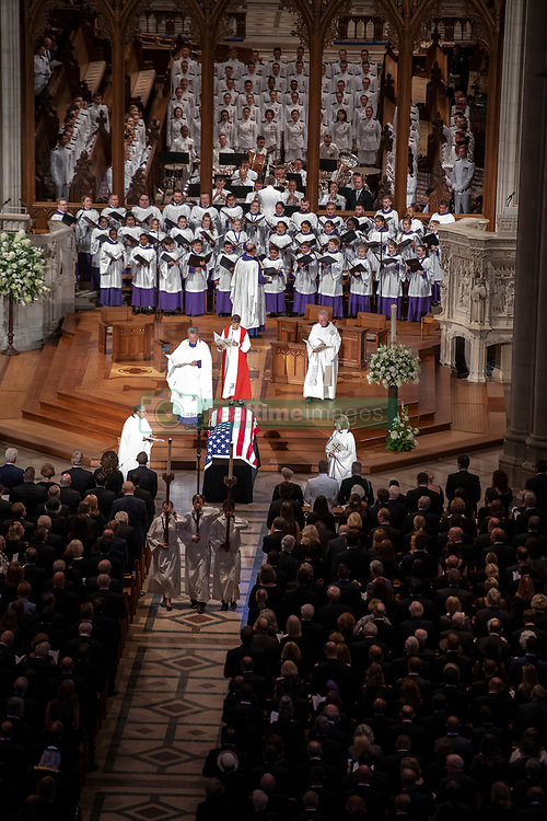 Recessional concluding the memorial service for the late United States Senator John S. McCain, III (Republican of Arizona) in the Washington National Cathedral in Washington, DC, USA on Saturday, September 1, 2018. Photo by Ron Sachs/CNP/ABACAPRESS.COM