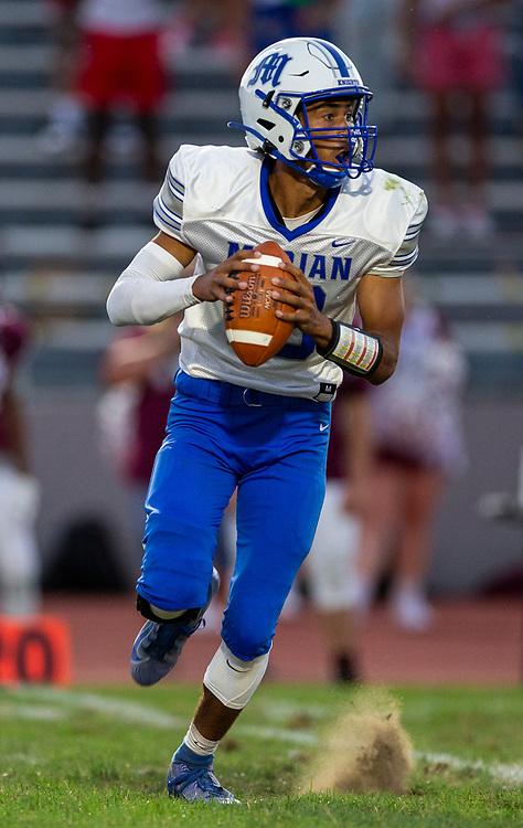 Marian's Maddix Bogunia passes the ball during the Marian-Mishawaka high school football game on Friday, August 21, 2020, at Steele Stadium in Mishawaka, Indiana.