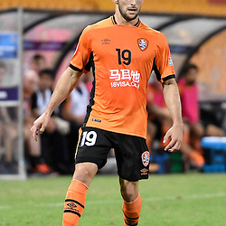 BRISBANE, AUSTRALIA - FEBRUARY 21: Jack Hingert of the Roar in action during the Asian Champions League Group Stage match between the Brisbane Roar and Muangthong United FC at Suncorp Stadium on February 21, 2017 in Brisbane, Australia. (Photo by Patrick Kearney/Brisbane Roar)