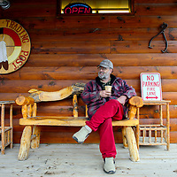 022815  Adron Gardner/Independent<br /> <br /> Tery Hazelbaker enjoys a cup of coffee at the the Candy Kitchen Trading Post Saturday.