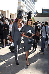 Left to right, NAOMI CAMPBELL and COUNTESS DEBONAIRE VON BISMARCK at the memorial service of Isabella Blow held at the Guards Chapel, London W1 on 18th September 2007.<br />