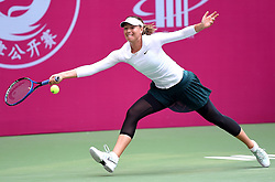 Oct. 12, 2017 - Tianjin, China - Maria Sharapova of Russia reaches for a return during the women's singles second round match against M. Linette of Poland at the 2017 WTA Tianjin Open. (Credit Image: © Yue Yuewei/Xinhua via ZUMA Wire)
