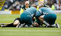 Photo: Steve Bond.<br />Derby County v Leeds United. Coca Cola Championship. 06/05/2007.Referee Crossley receives lengthy treatment on the pitch