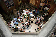 overhead view of people meeting in the hall at a congress