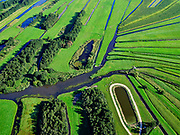 Nederland, Noord-Holland, gemeente Wijdemeren, 02-09-2020; De Ster, samenkomen van de veenriviertjes Drecht en Pampus. Veenweidegebied nabij Hilversum, de verkaveling is ontstaan door het winnen van veen.<br /> The Star (star shape land) where peat rivers meet, near Hilversum.<br /> luchtfoto (toeslag op standaard tarieven);<br /> aerial photo (additional fee required)<br /> copyright © 2020 foto/photo Siebe Swart