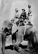 George V (1865-1936)  King of Great Britain from 1936. riding on an elephant on a hunting trip in Nepal, December 1911, while in India to be installed as King-Emperor of India.