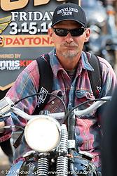 Jay Wright at Warren Lane's True Grit Antique Gathering bike show at the Broken Spoke Saloon in Ormond Beach during Daytona Beach Bike Week, FL. USA. Sunday, March 10, 2019. Photography ©2019 Michael Lichter.