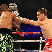 NEW ORLEANS, LA - JULY 14:  Jean Carlos Rivera (R) fights Angel Luna during the Regis Prograis v Juan Jose Velasco ESPN boxing match at the UNO Lakefront Arena on July 14, 2018 in New Orleans, Louisiana.  (Photo by Alex Menendez/Getty Images) *** Local Caption *** Jean Carlos Rivera; Angel Luna
