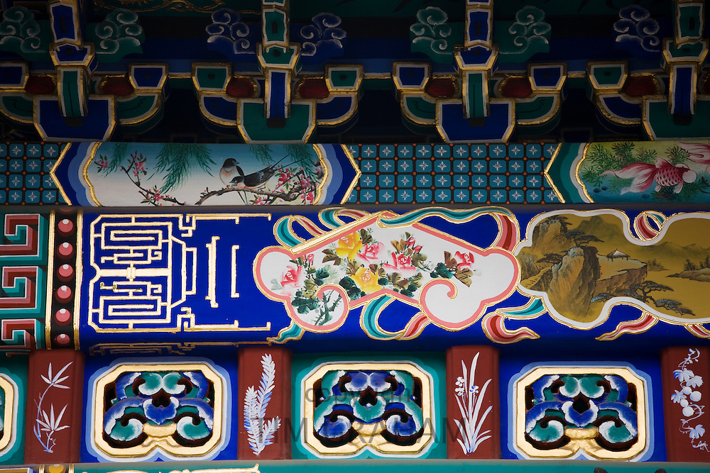 Newly restored paintings at The Gate of Inviting the Moon, The Summer Palace, Beijing, China