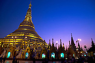Shwedagon Pagoda at dusk Rangoon, Myanmar, Asia. The temple is floodlit with a deep blue and purple sky in background.