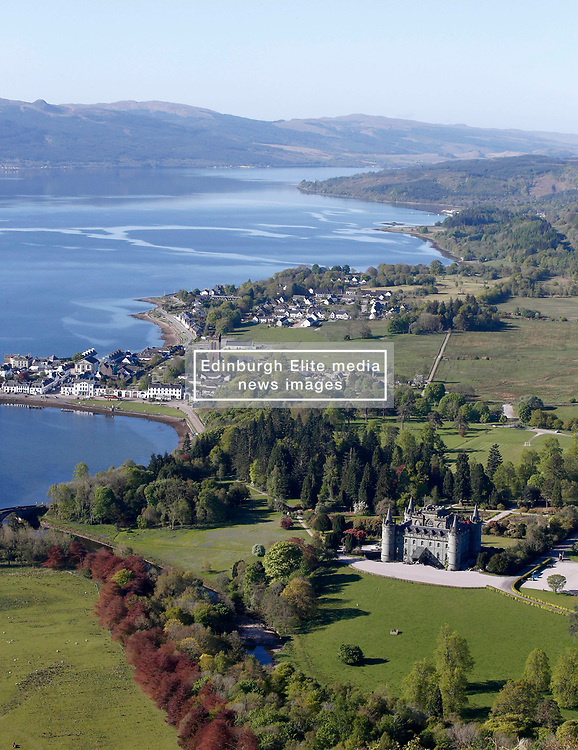 Inveraray Castle and The Royal Burgh of Inveraray from the 18th century watch tower situated on the summit of Dun Na Cuaiche.  Inveraray Castle has been the seat of the Dukes of Argyll, chiefs of Clan Campbell, since the 18th century.......... <br /> (c) Stephen Lawson   Edinburgh Elite media