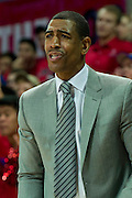DALLAS, TX - JANUARY 4: Connecticut Huskies head coach Kevin Ollie looks on against the SMU Mustangs on January 4, 2014 at Moody Coliseum in Dallas, Texas.  (Photo by Cooper Neill) *** Local Caption *** Kevin Ollie