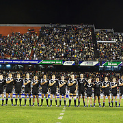 The New Zealand team sing the national anthem during the Australia V New Zealand Final match at the IRB Junior World Championships in Argentina. New Zealand won the match 62-17 at Estadio El Coloso del Parque, Rosario, Argentina,. 21st June 2010. Photo Tim Clayton...