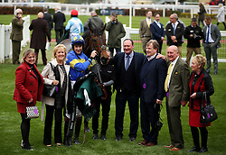 Jockey Aidan Coleman and his horse Brillare Momento after winning the Thoroughbred Breeders' Association Mares' Novices' Hurdle 2.05pm race during the April Meeting at Cheltenham Racecourse