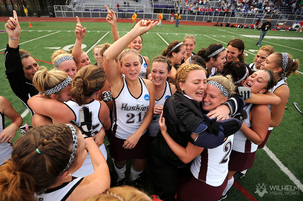 15 NOV 2009:    Bloomsburg University celebrates their victory over the University of Massachusetts - Lowell during the 2009 NCAA Women's Division II Field Hockey Championship held at W.B. Mason Stadium on the campus of Stonehill University in Easton, MA. Bloomsburg University defeated University of Massachusetts - Lowell 3-2 for the national title.  © Brett Wilhelm