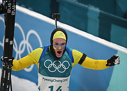 PYEONGCHANG, Feb. 12, 2018  Sweden's Sebastian Samuelsson celebrates after finishing men's 12.5km pursuit event of biathlon at 2018 PyeongChang Winter Olympic Games at Alpensia Biathlon Centre, Feb. 12, 2018. Sebastian Samuelsson claimed second place in a time of 33:03.7  (Credit Image: © Wang Haofei/Xinhua via ZUMA Wire)