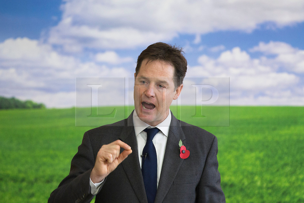 © Licensed to London News Pictures. 07/11/2013. London, UK. The British Prime Minister, Nick Clegg, is seen giving a speech on the environment at the Royal Society of Arts in London today (07/11/2013). Photo credit: Matt Cetti-Roberts/LNP