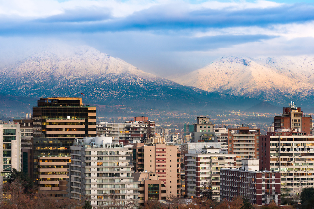 Buildings at Providencia district with Los Andes Mountains in the back, Providencia, Santiago de Chile