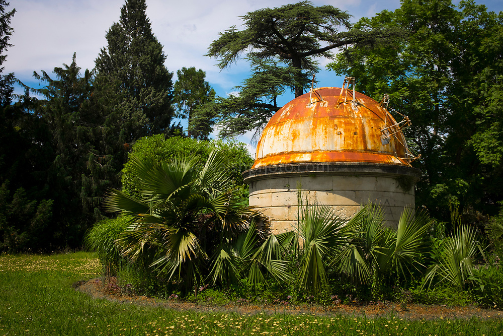 Astronomy observatory, observatoire astronomique in Jardin des plantes de Montpellier - Botanic Gardens, Montpellier, France. Built at the suggestion of wo science teachers (Jean-Nicolas Legrand and André Crova) and according to the suggestions of the astronomer Urban Le Verrier, discovered of Neptune.