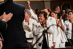 FEBRUARY 5, 2019 - WASHINGTON, DC: Representative Nita Lowey, D-NY, Alexandria Ocasio-Cortez, D-NY, and other House members during the State of the Union address at the Capitol in Washington, DC, USA on February 5, 2019. Photo by Doug Mills/Pool via CNP/ABACAPRESS.COM