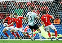 Wales players defending on Thomas Meunier (Belgium) kick<br /> Lille 01-07-2016 Stade Pierre Mauroy Football Euro2016 Wales - Belgium / Galles - Belgio <br /> Quarter-finals. Foto Matteo Ciambelli / Insidefoto