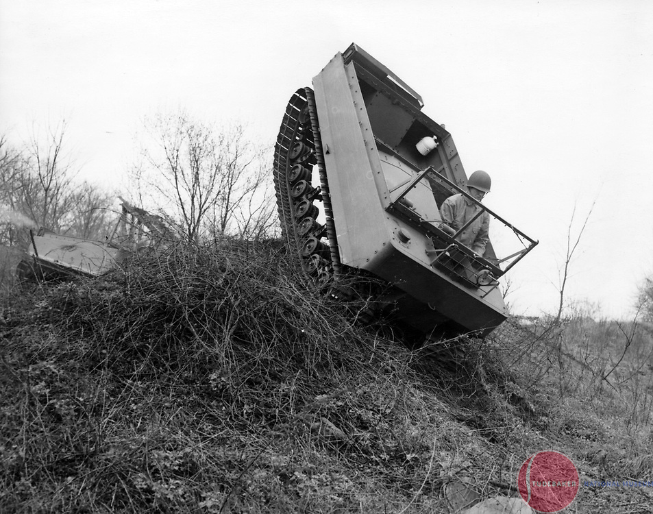 A World War II Weasel makes its way down an embankment during testing.