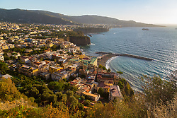 Sorrento, Italy, September 17 2017. An elevated late afternoon view of Meta and Sorrento, in the Bay of Naples in southern Italy. © Paul Davey