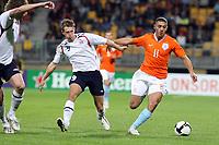Fotball<br /> Nederland<br /> Foto: ProShots/Digitalsport<br /> NORWAY ONLY<br /> <br /> <br /> U21 Nederland / Holland v Norge<br /> <br /> seizoen 2008 / 2009 ,  05-09-2008 kerkrade jong oranje - jong noorwegen nordin amrabat in duel met magne simonsen