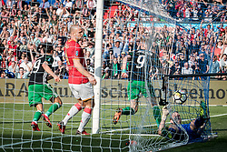 (L-R) Steven Berghuis of Feyenoord, Ron Vlaar of AZ, Nicolai Jorgensen of Feyenoord, goalkeeper Marco Bizot of AZ 0-1 during the Dutch Toto KNVB Cup Final match between AZ Alkmaar and Feyenoord on April 22, 2018 at the Kuip stadium in Rotterdam, The Netherlands.