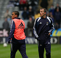 Photo. Andrew Unwin, Digitalsport<br /> Newcastle United v Sporting Lisbon, Uefa Cup Quarter Final First Leg, St James' Park, Newcastle upon Tyne 07/04/2005.<br /> Newcastle's Kieron Dyer (L) and Lee Bowyer (R) warm up before the game.