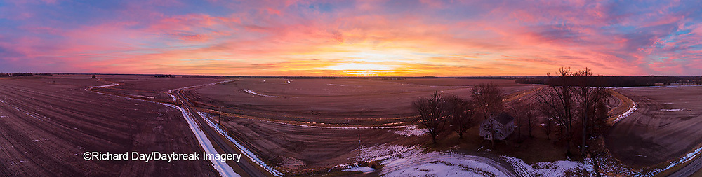 63895-17302 Aerial view of Pleasant Grove Church at sunrise in winter Marion Co. IL