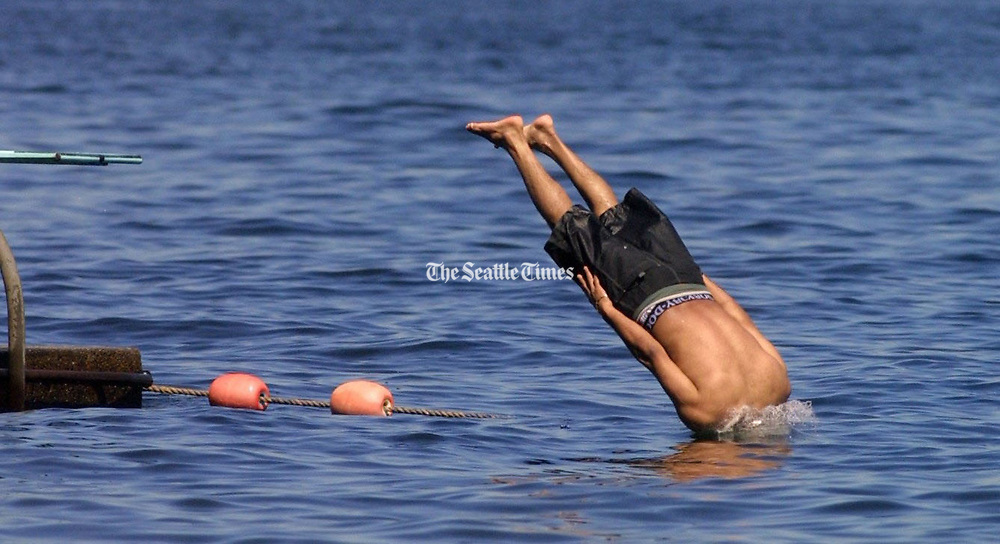 A diver at Seattle's Madrona Park on Lake Washington plunges from the realm of air into the world of water below. (Ellen M. Banner / The Seattle Times)