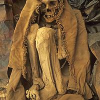 PERU. Chachapoyan (pre-Incan) mummy at cultural museum in Chachapoyas, Peru.