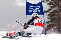Taber Engelken gets on edge around the giant slalom gate during the Eastern Regional Championships at Sunday River on February 26th. (Karen Bobotas/for the Stowe Reporter)