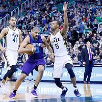 27 January 2016: Charlotte Hornets guard Nicolas Batum (5) drives past Utah Jazz guard Rodney Hood (5) during the Utah Jazz 102-73 victory over the Charlotte Hornets, at the Vivint Smart Home Arena, Salt Lake City, Utah, USA.